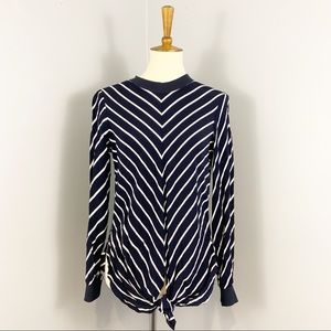 Zara Basic Striped Tie Front Long Sleeve Top